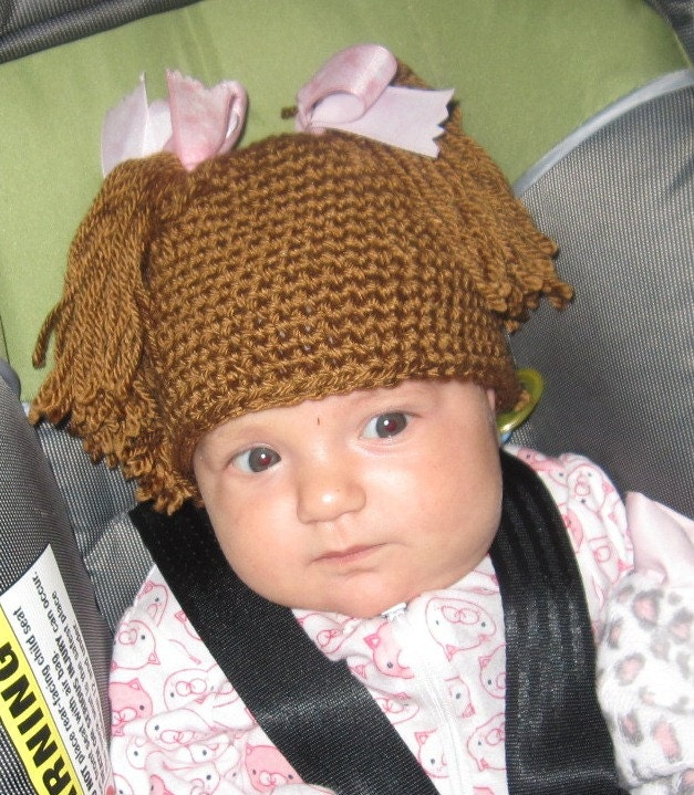 Crochet Pattern For Cabbage Patch Baby Hat : Pigtail Crocheted Cabbage Patch Baby Hat by JodysRagsToRiches