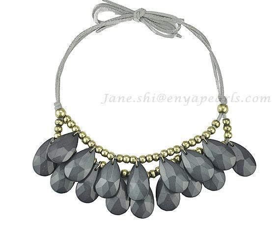 grey necklace bib necklace resin necklace by