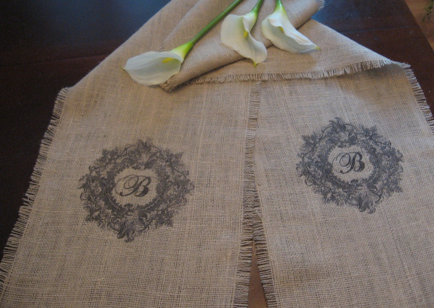 Monogrammed Burlap Table Runner 14 x 114 Weddings