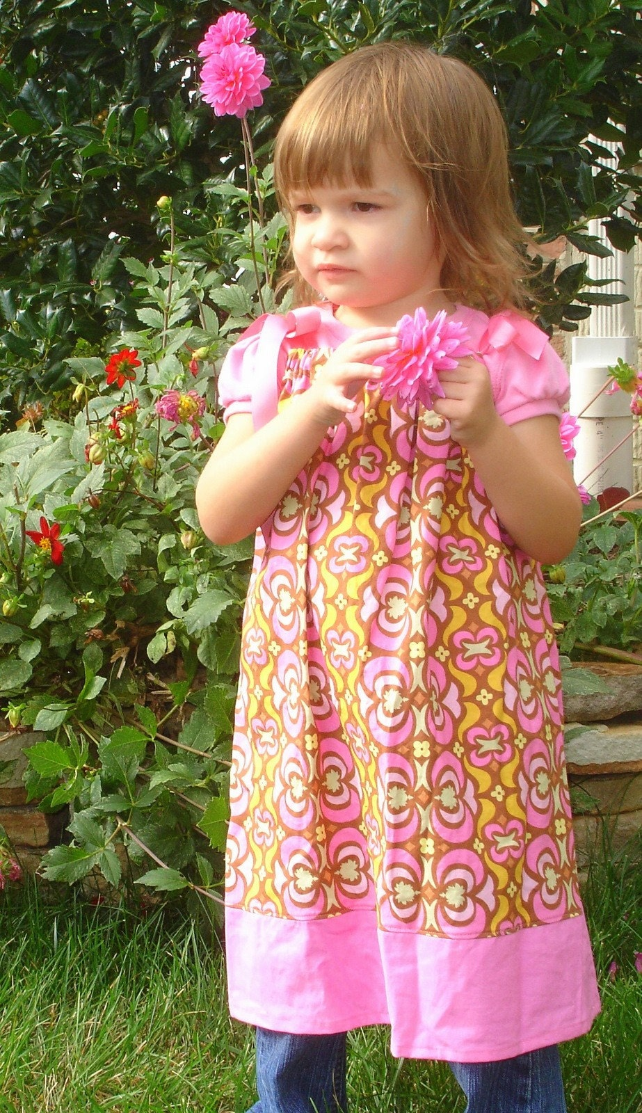 Pink Midwest Modern Garden Maze Pillowcase Dress - Ready to Ship