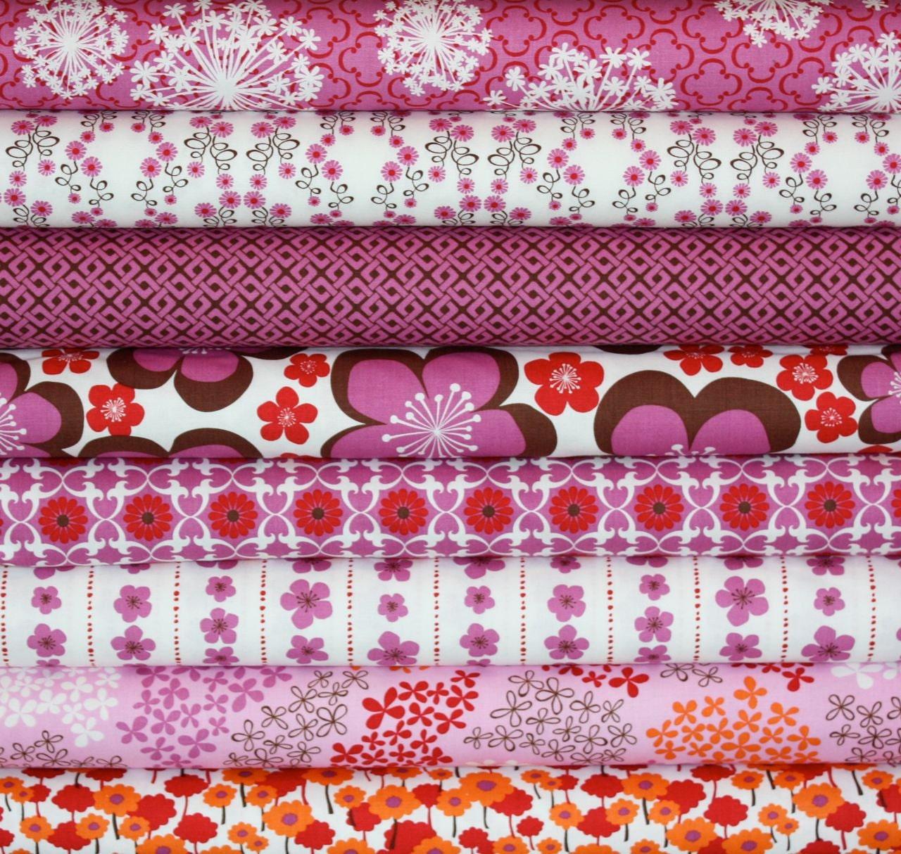 ORGANIC Pick a Bunch fabric by Nancy Mims for Robert Kaufman, 1/2 Yard Bundle- 8 total