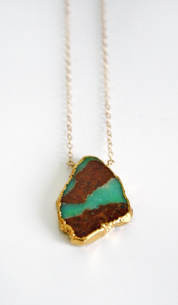Raw Chrysoprase Gold Necklace - shopkei
