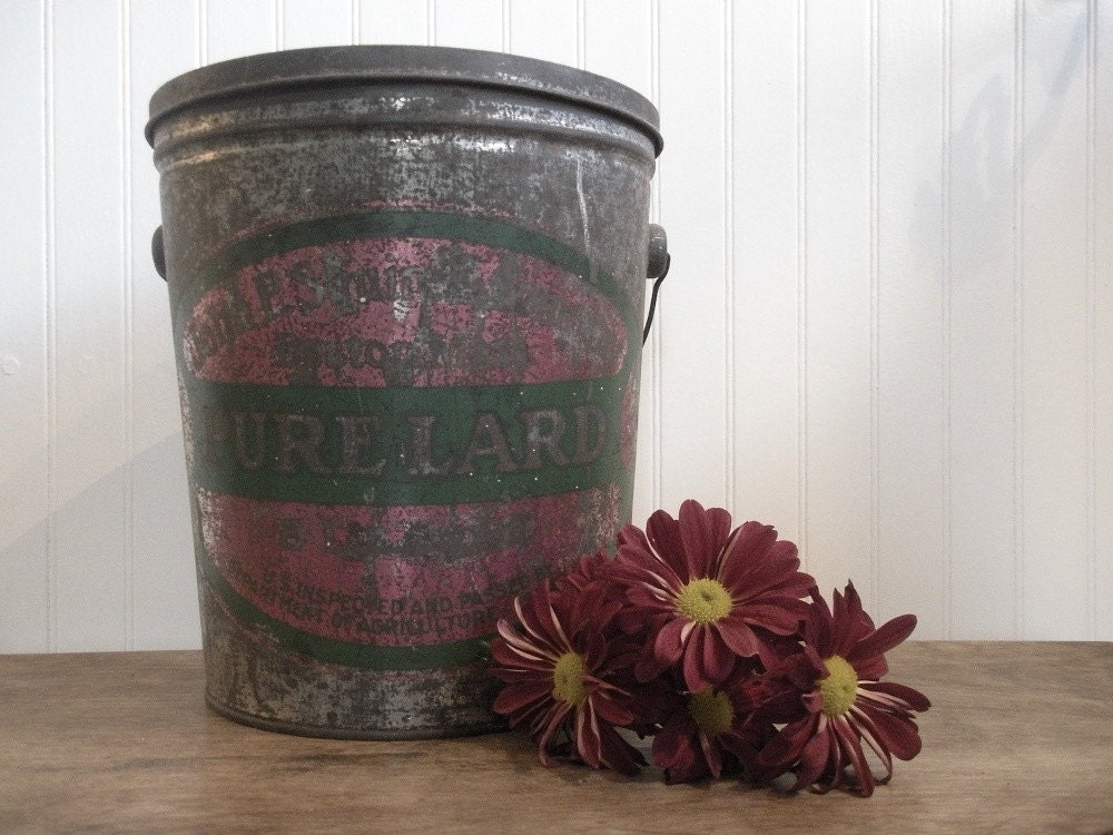 Tin Lard Bucket Farm Style Chic Collector Item