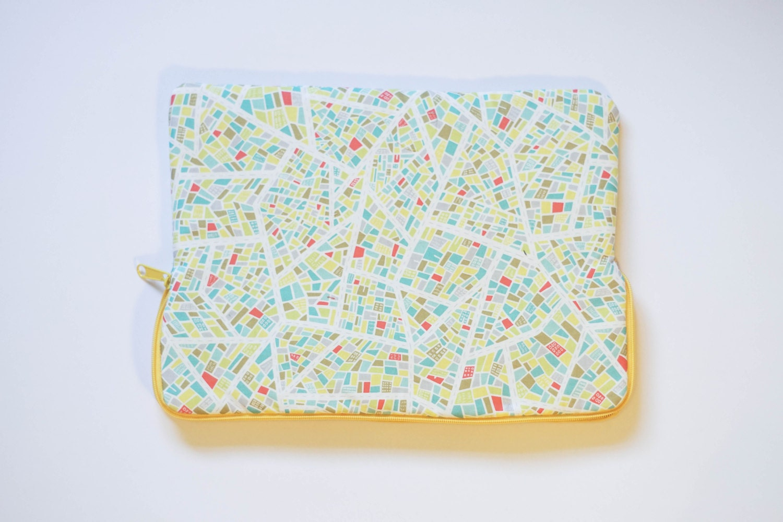 Road Map  Cotton Print  MacBook Pro Sleeve  Laptop Sleeve  Laptop Case  Laptop Bag