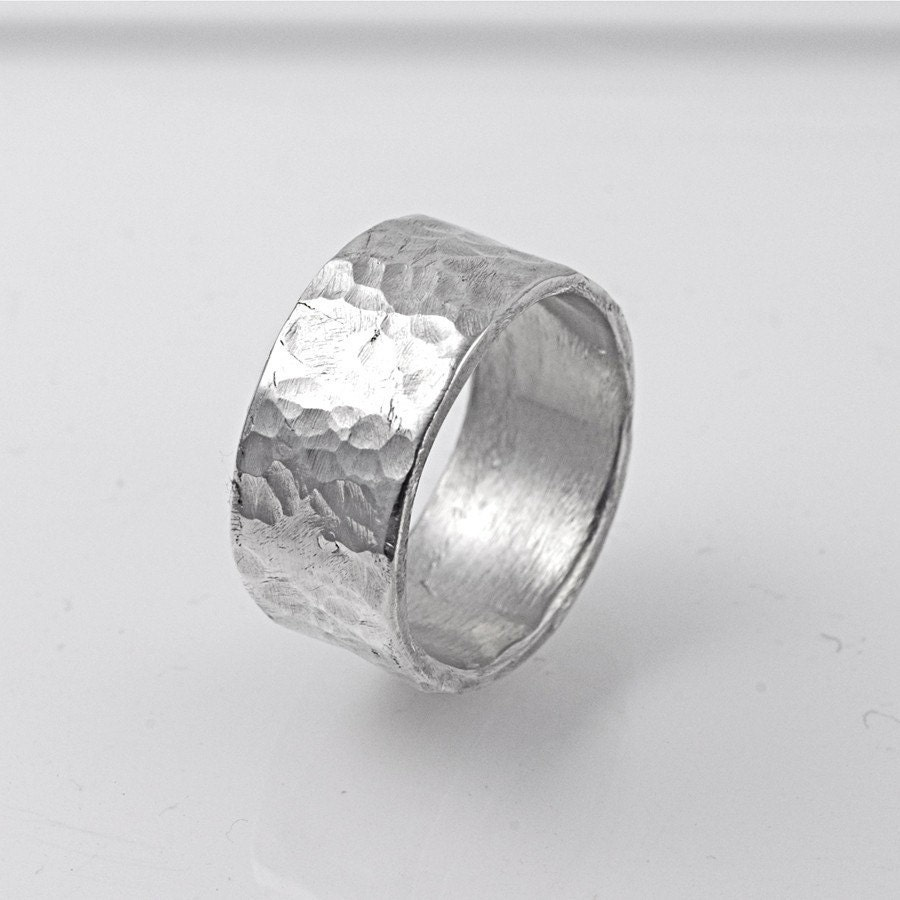 Organic Sterling Silver WIDE Hammered Band Ring for a Man or Woman
