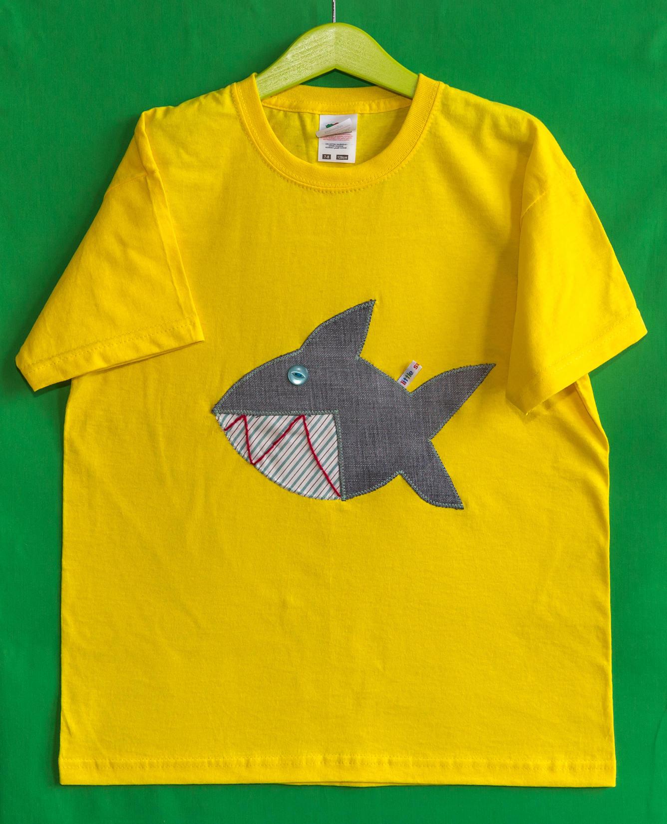 Little Sausages unique children appliqu TShirt Shark animal motif 100 cotton 78 yellow boys girls kids