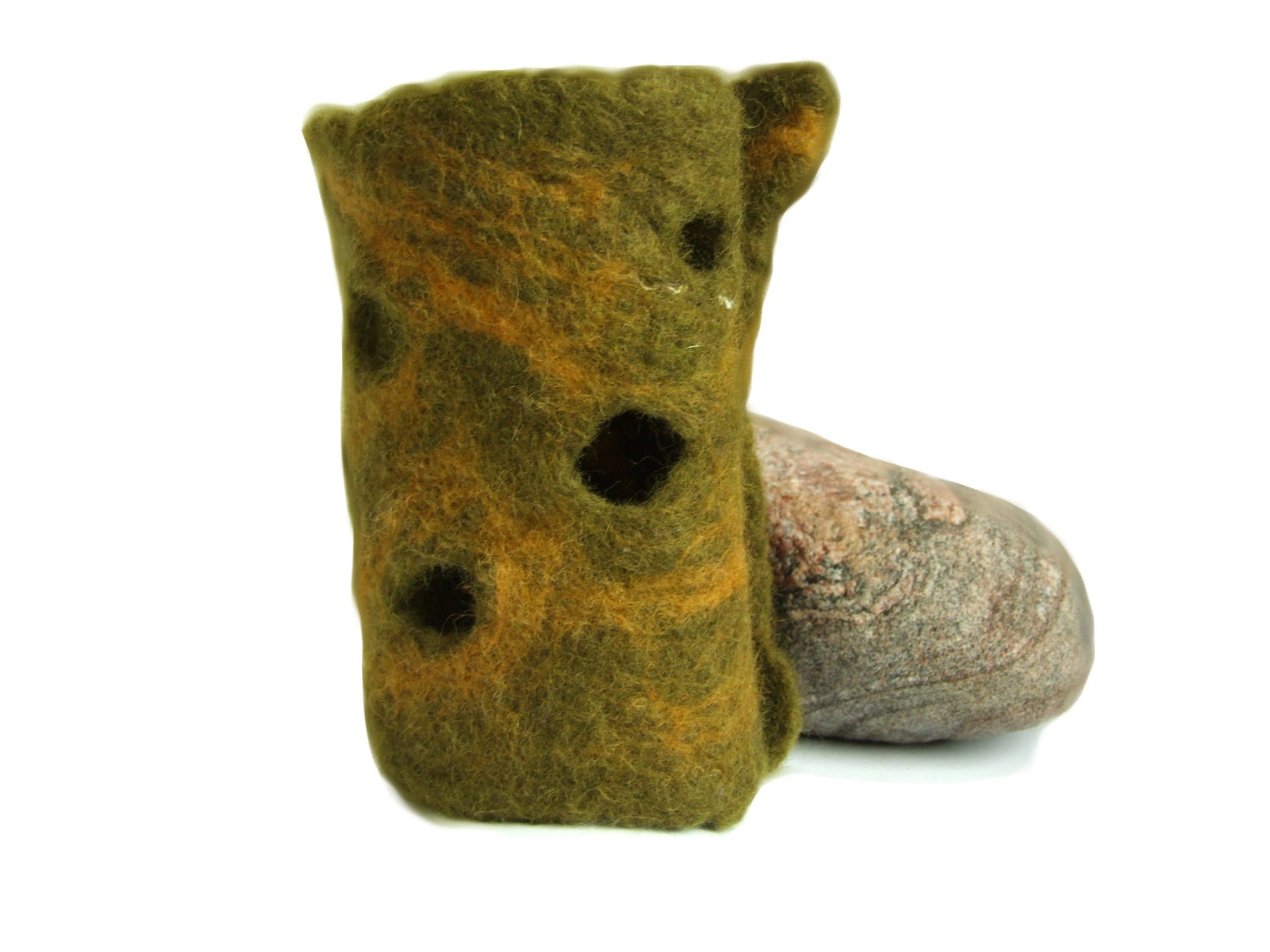 Felt Accessories - Felt Cuff bracelet - Olive Green Cuff- Merino Wool Felt Cuff - Woodland bracelet - Elven Cuff - Cuff with Holes - FeltYourself