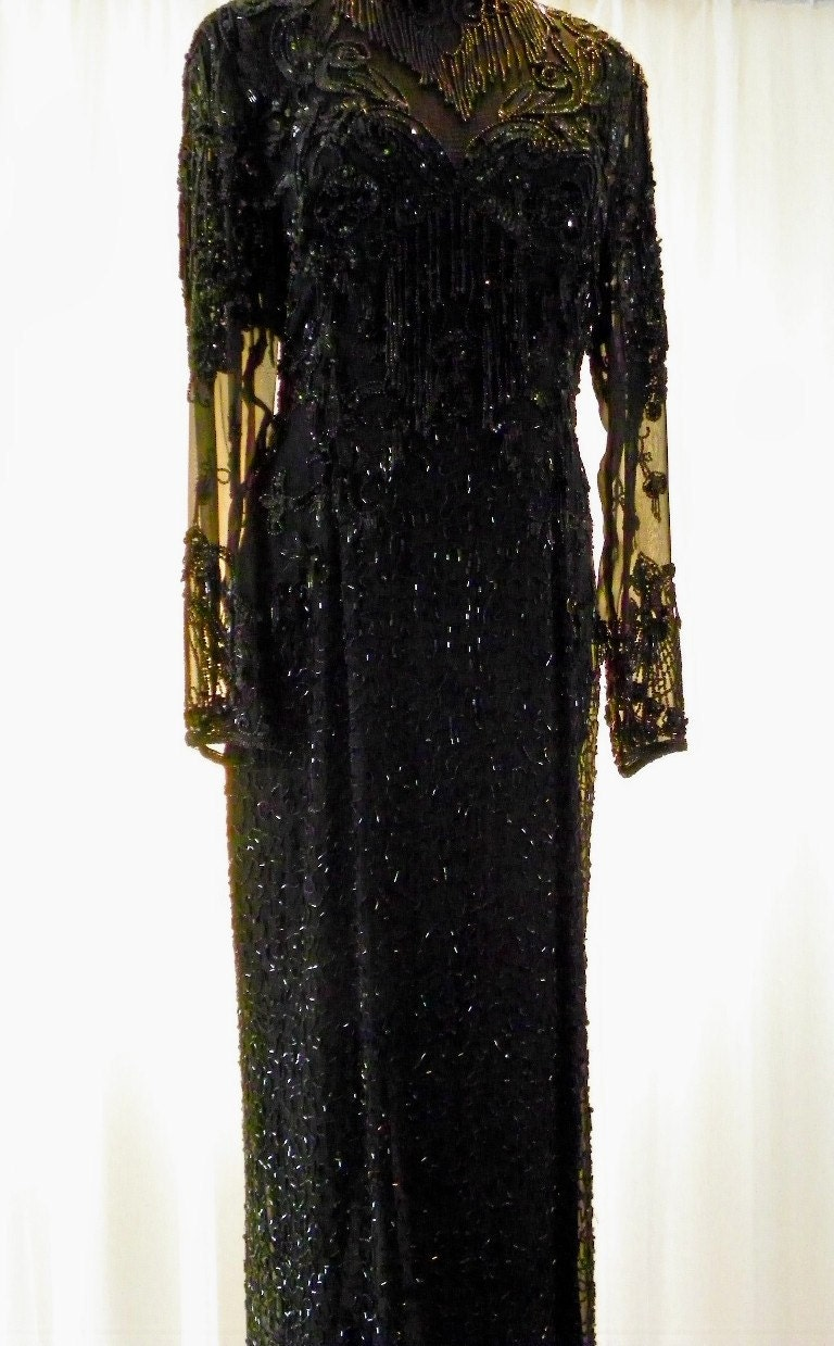 Vintage Silk Black Sheer Bodice Open Back Chandelier Beading Sequins Evening Gown Floor Length Size 12 on Etsy