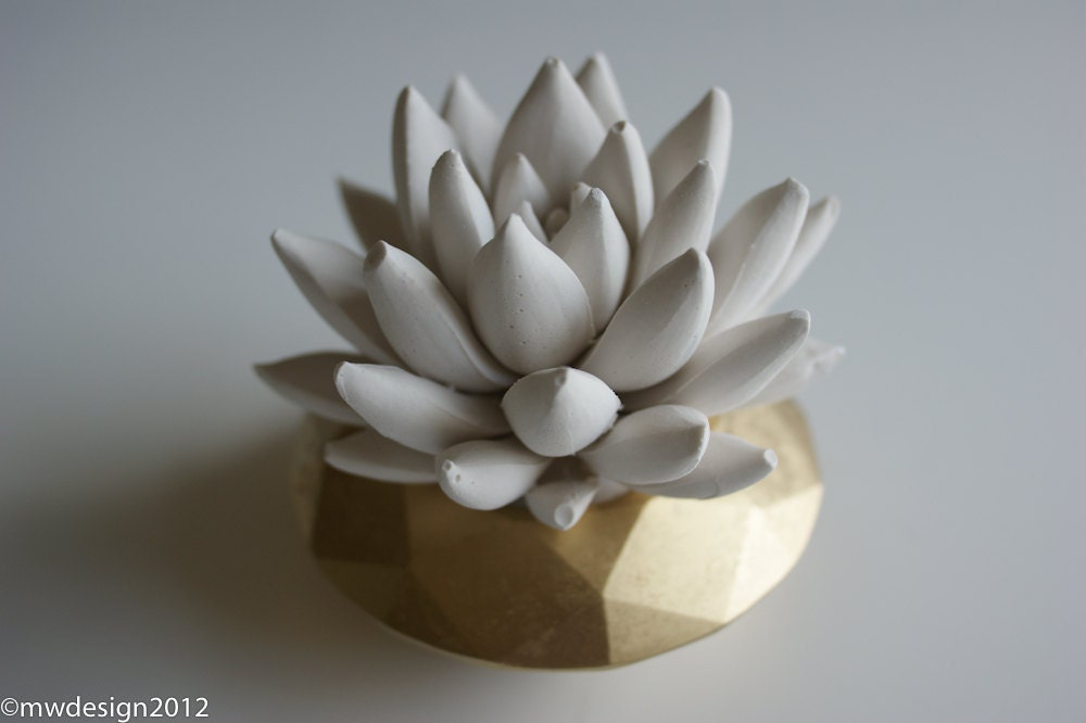 White Succulent Sculpture in Modern Faceted Geometric Gold Container, Tabletop Centerpiece, Desktop Home Decor