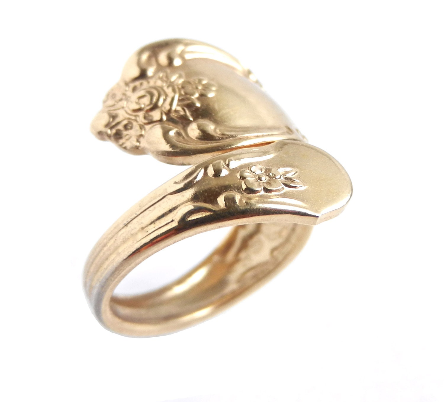 vintage gold tone spoon ring wma rogers oneida by