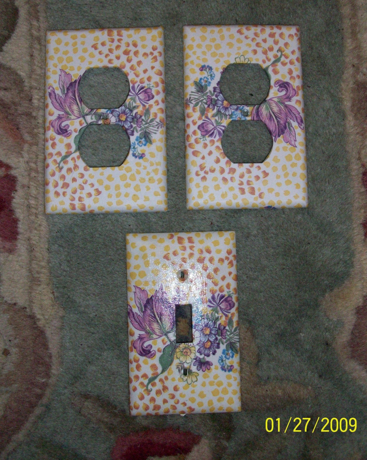 5 Switch Plate Outlet Covers Decoupaged With By