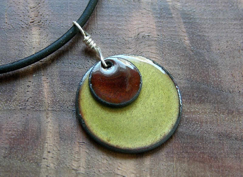 The Prairie...Chestnut on Olive...Copper Enamel Necklace