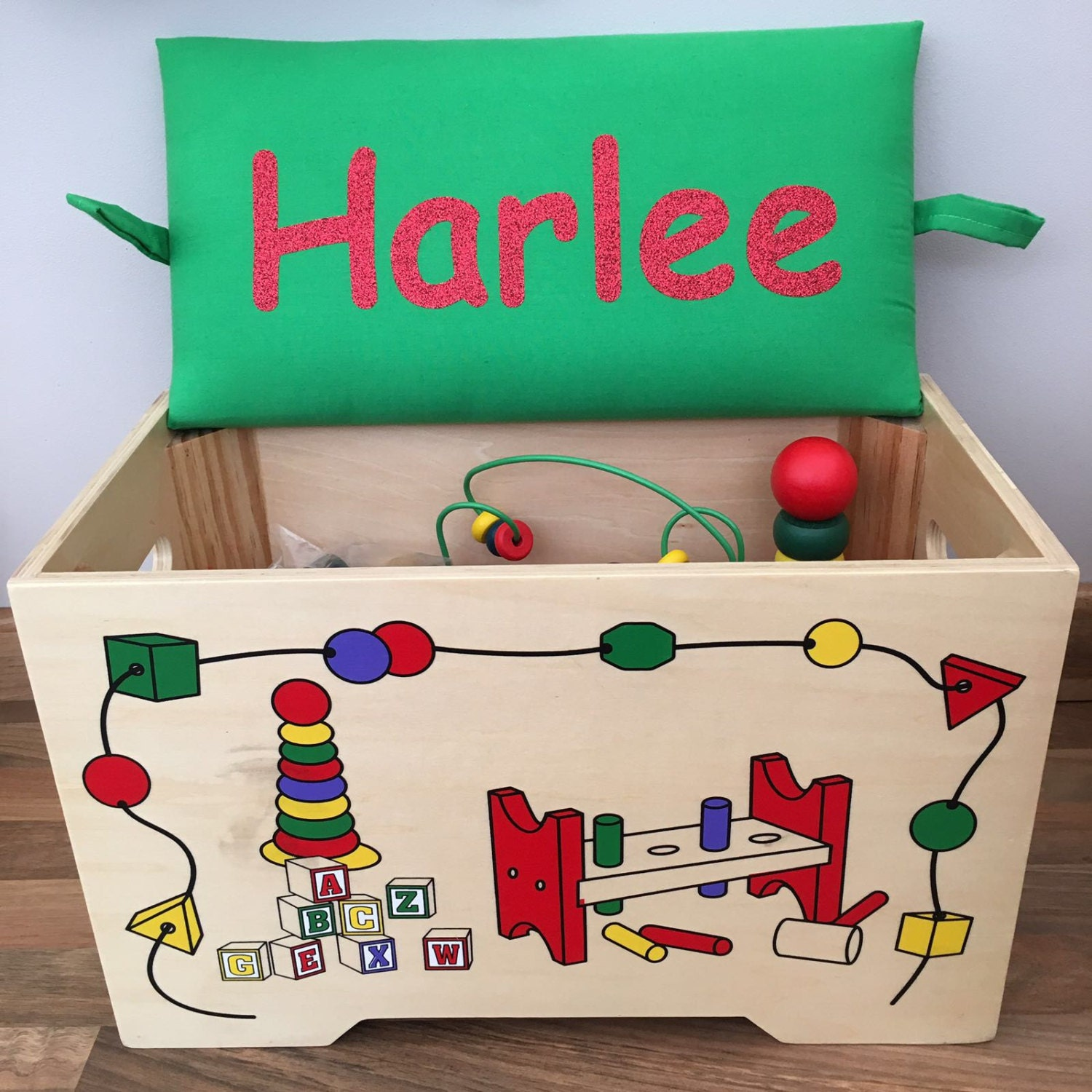 Personalised wooden toy chest with 6 piece toy set inside