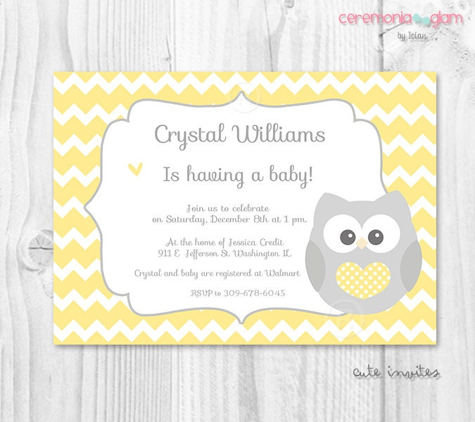 Baby Showers On Saturday Or Sunday ~ Baby shower owl yellow and grey chevron printable by