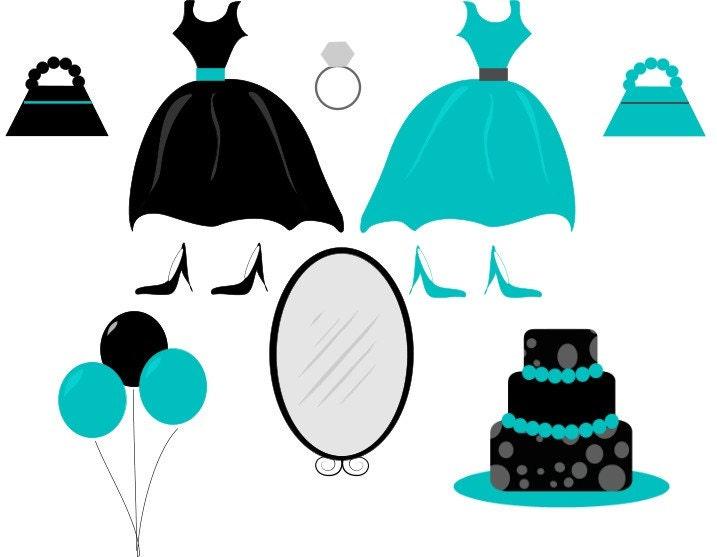 Party Balloons Clip Art. Little Black Party Dress