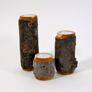 Rustic Wooden Tea Light Holder Free Shipping: Rustic Candle Holders Set Of 3 Tea Light By