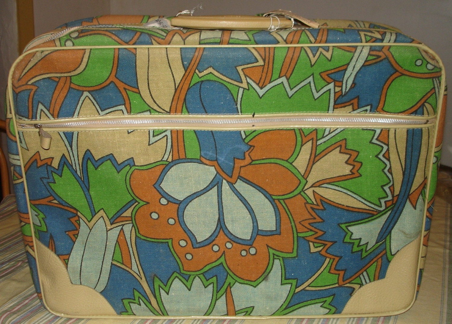 Vintage Blue and Green Suitcase