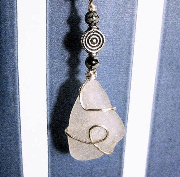 Irish Gifts. Bookmark Celtic. Seaglass, Silver & Stone. Made in Ireland