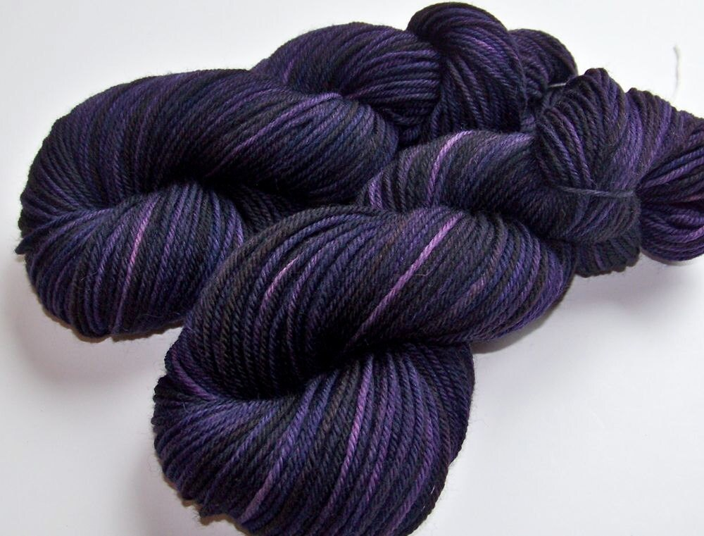 Discount/Discontinued--Hand Painted Soft Washable Worsted -- Aubergine