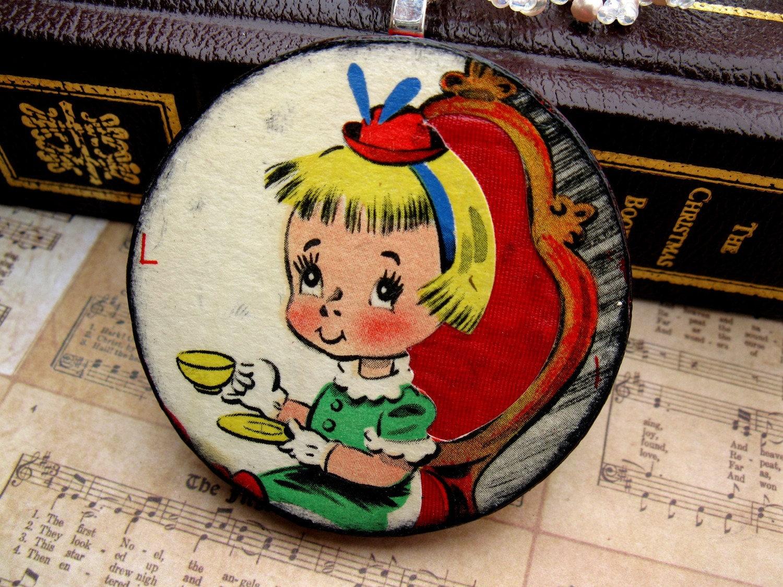 SALE- Vintage Ephemera Shabby Chic Pendant