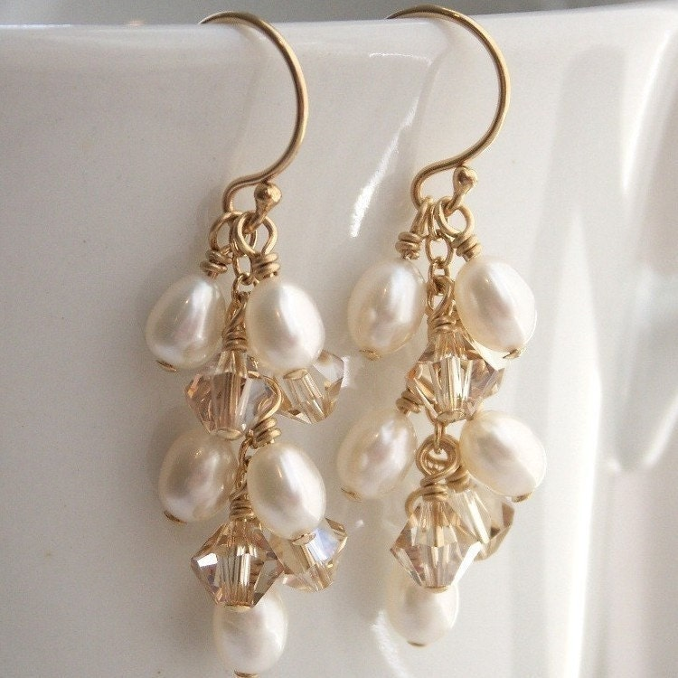 Swarovski Crystal and Freshwater Pearl Cascade Earrings on Gold Fill