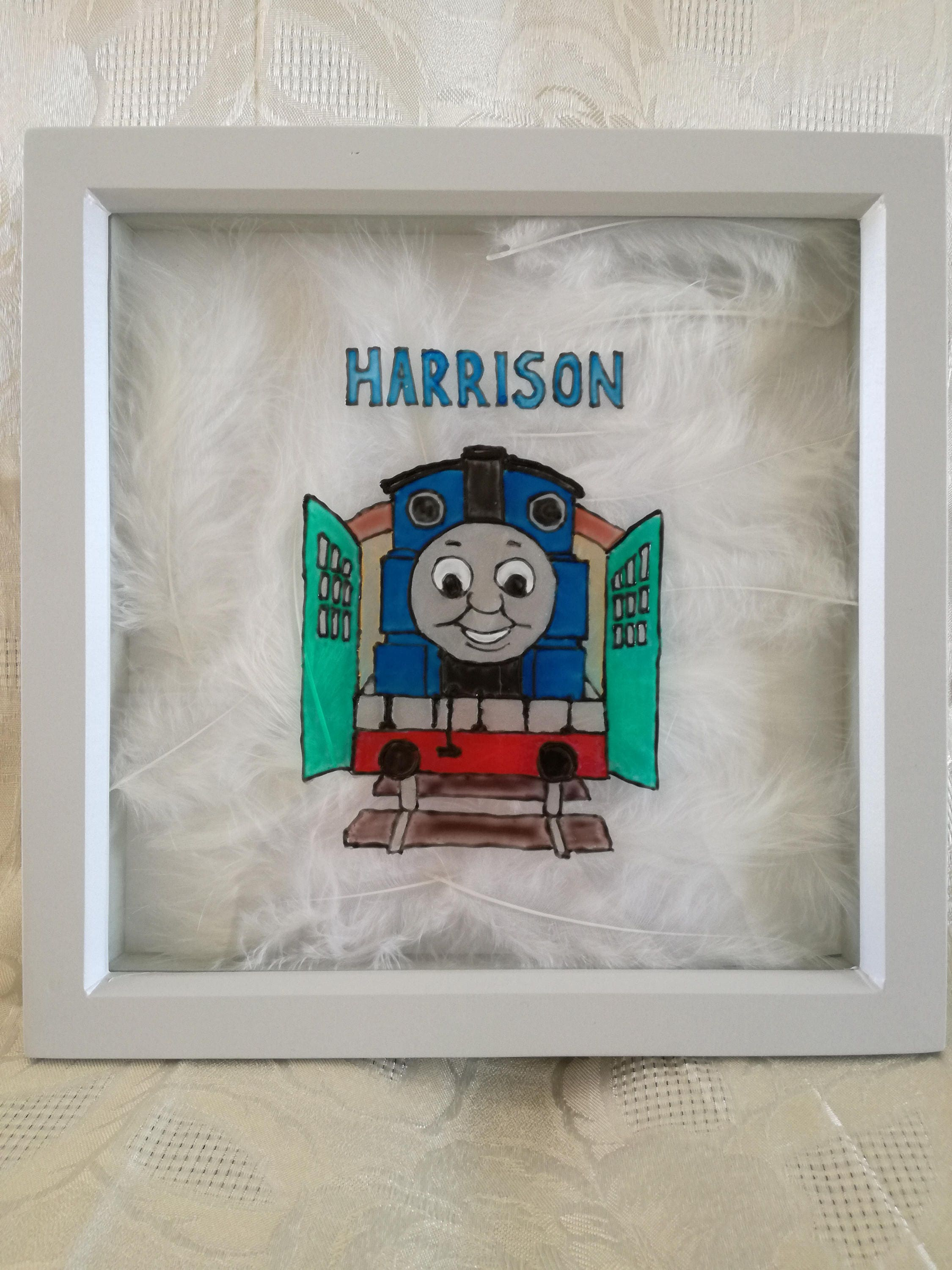 New Baby picture frame gift. Thomas tank engine train hand painted with feathers. Personalised name girl boy newborn present nursery