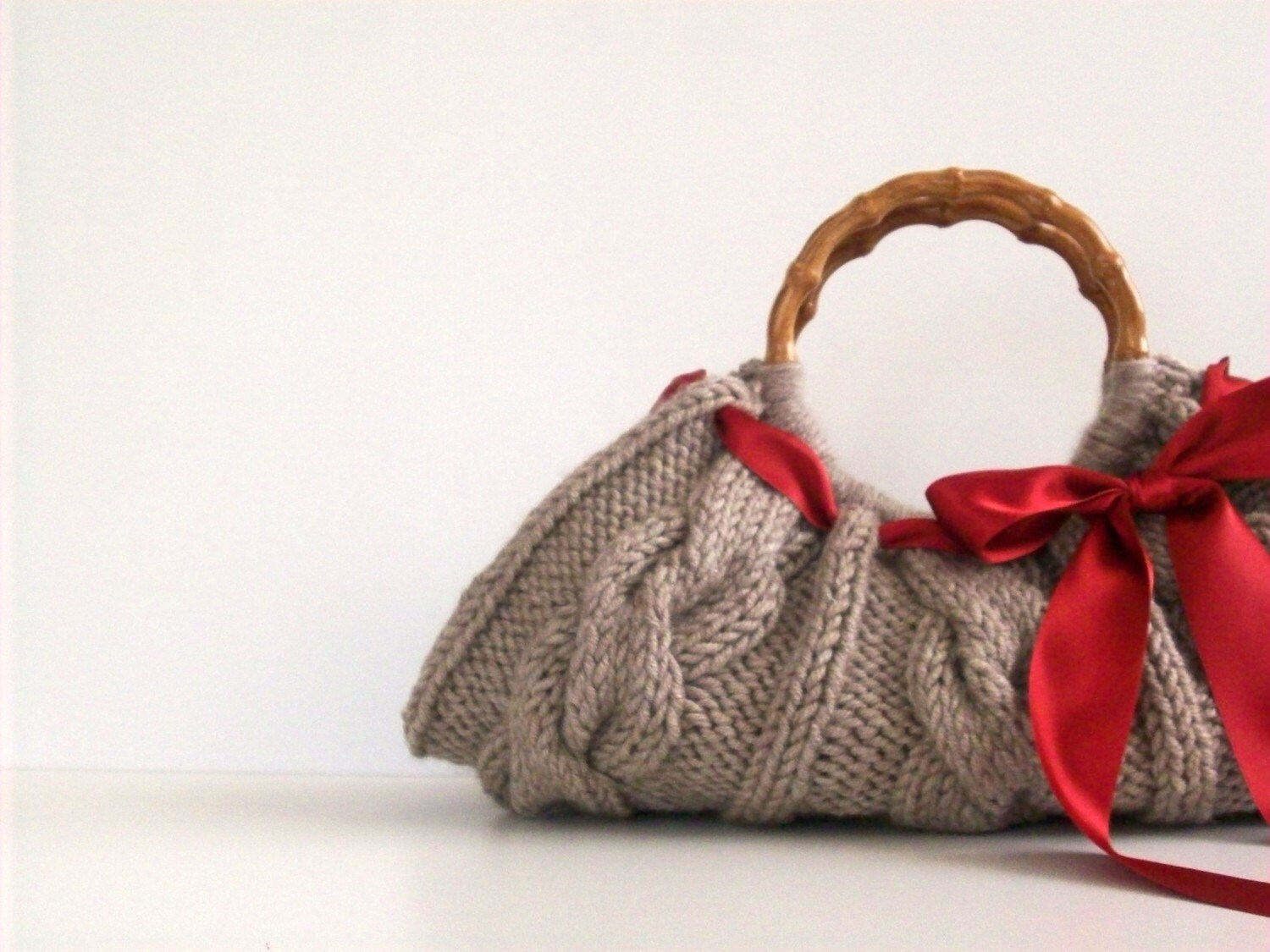 Knitted Handbag - Beige Bag Nr-0109