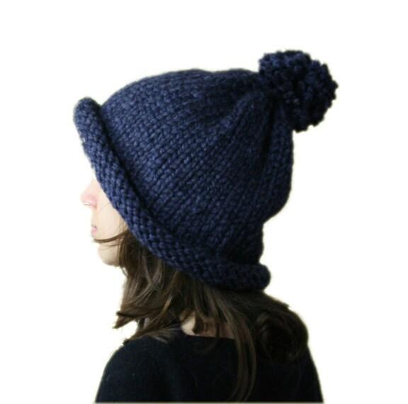 Alpaca Pom Pom Knit Hat in Navy Blue - Slouchy Beanie - Fall Winter Fashion -  Chunky Beret - Women Teens Accessories