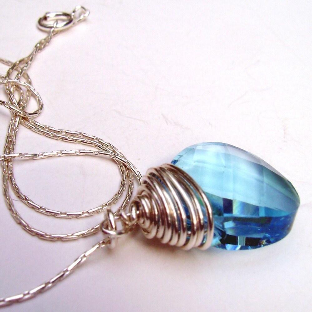 Sapphire Blue Swarovski Drop Necklace