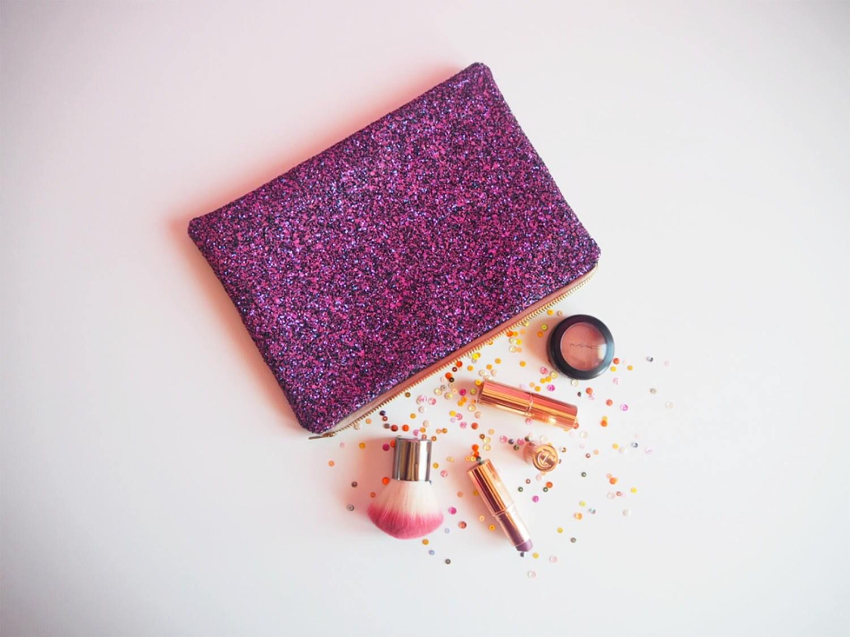 Dark Pink  Black Glitter Clutch Bag Sparkly Evening Bag Pink Glitter Case