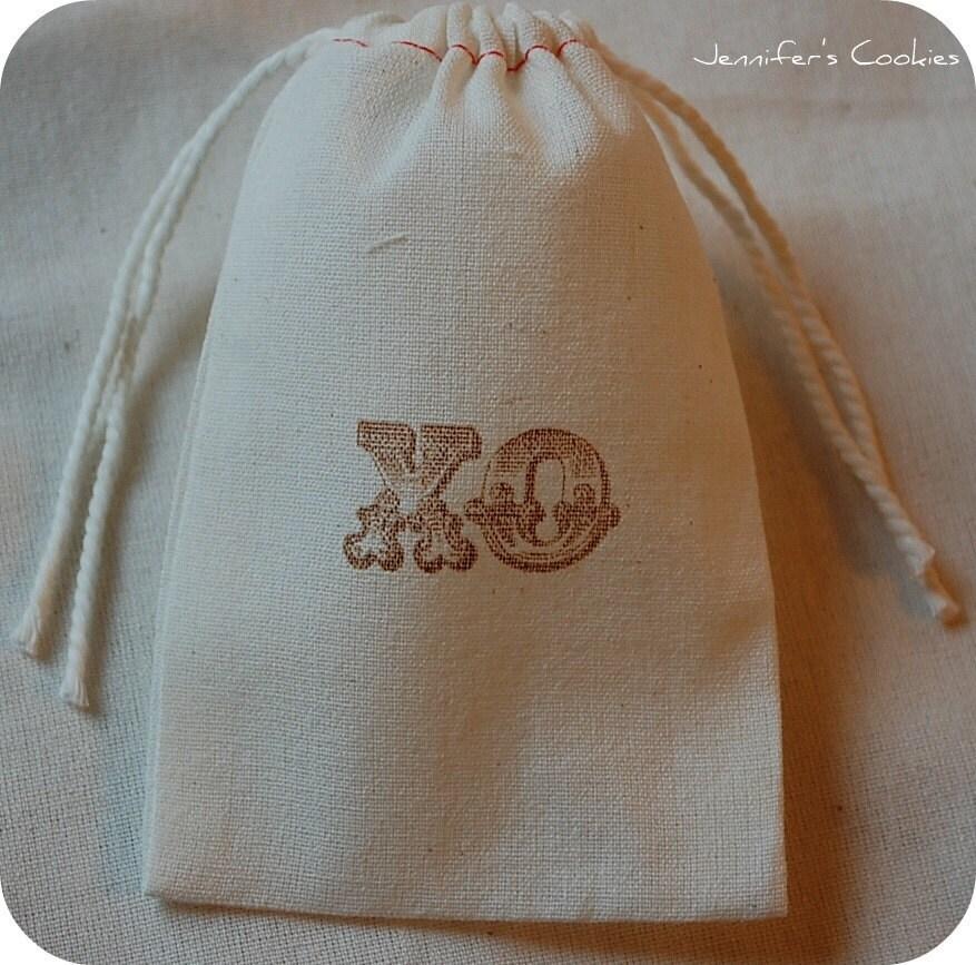 10 Vintage Wedding XO Muslin Favor Gift Bags 3x5