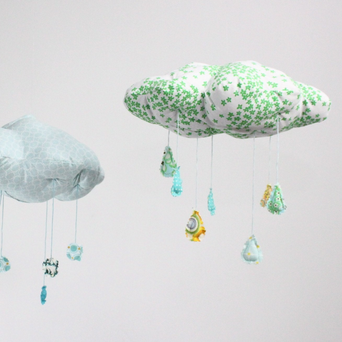 "Lucky Little Cloud Mobile - ""Raindrops keep falling on my head"" fabric sculpture in kelly emerald green, turquoise, tiffany blue, golden yellow, and snow white"