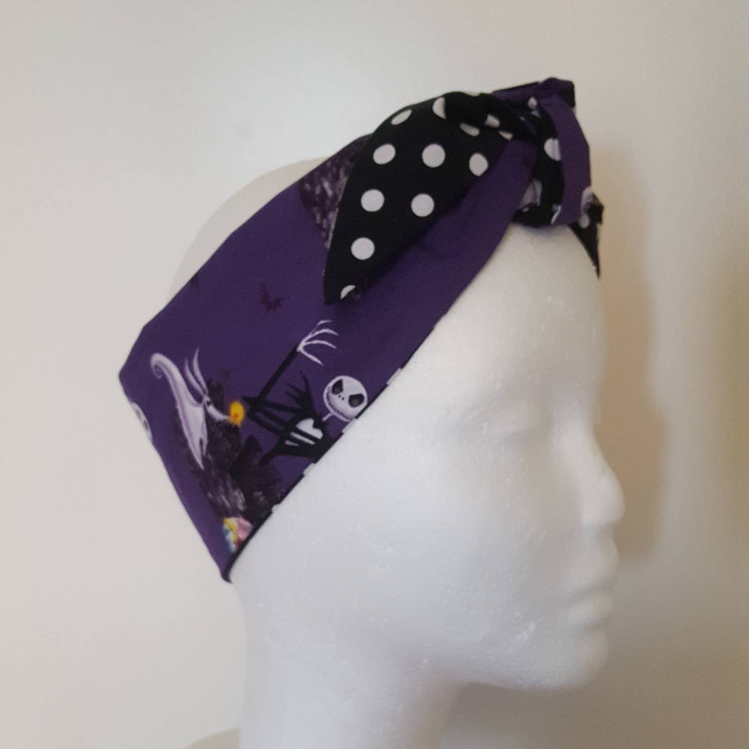 Purple nightmare print hair band Rockabilly hair Vintage head wrap Retro Bandana 1950s headscarf goth accessories skeleton print