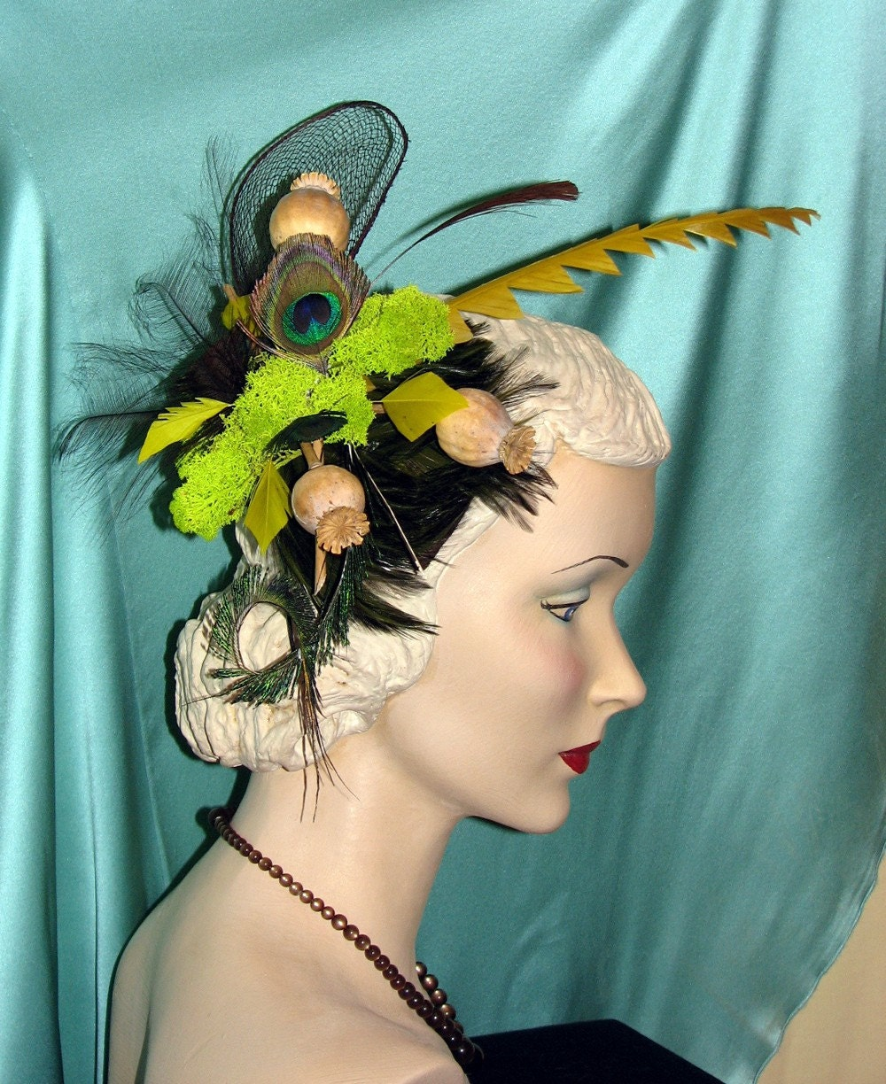Deep in the dark forest, lives a rare bird indeed- Unique Couture Fascinator