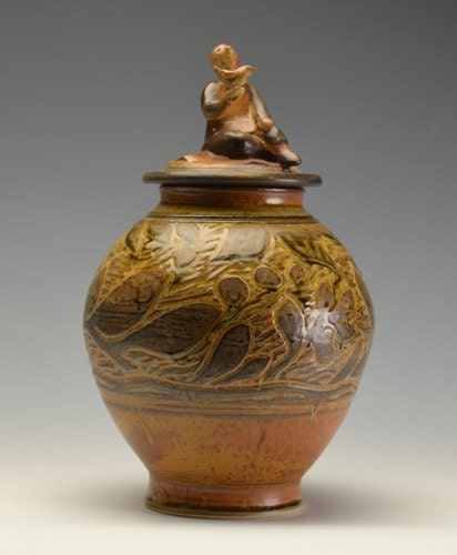 One of a Kind Memorial Cremation Urn Handmade Pottery with Sculpted Boy and Bird