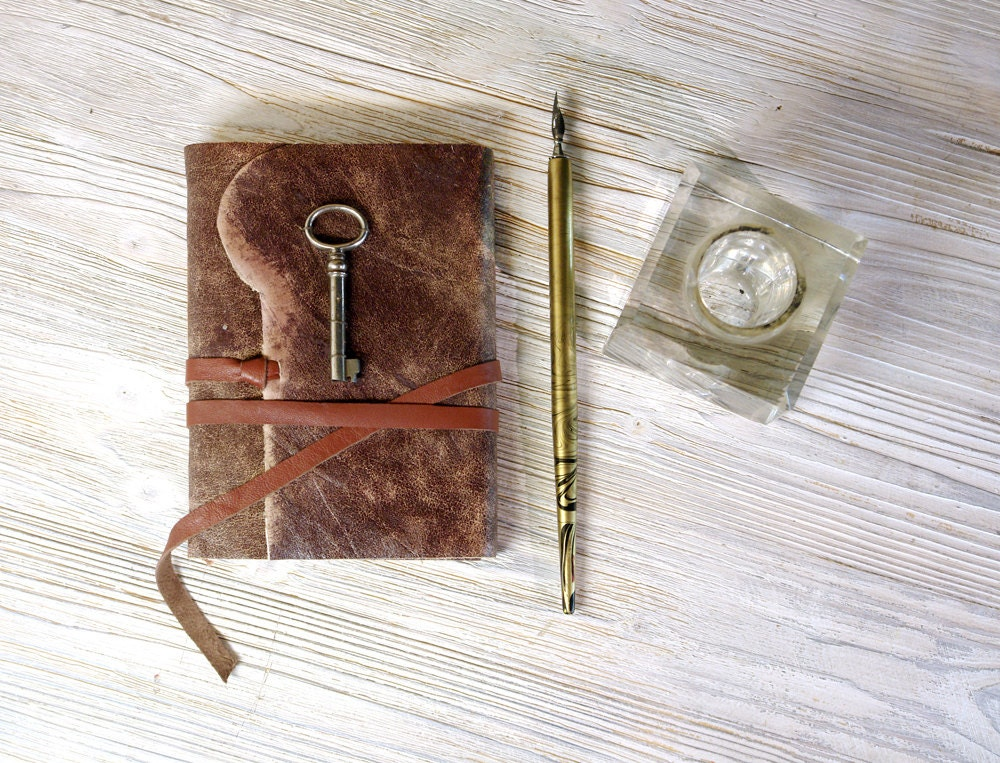 Leather Journal with Key - Brown Notebook with Vintage Key and Stained Vintage Style Old Paper - Introspection - MedievalJourney
