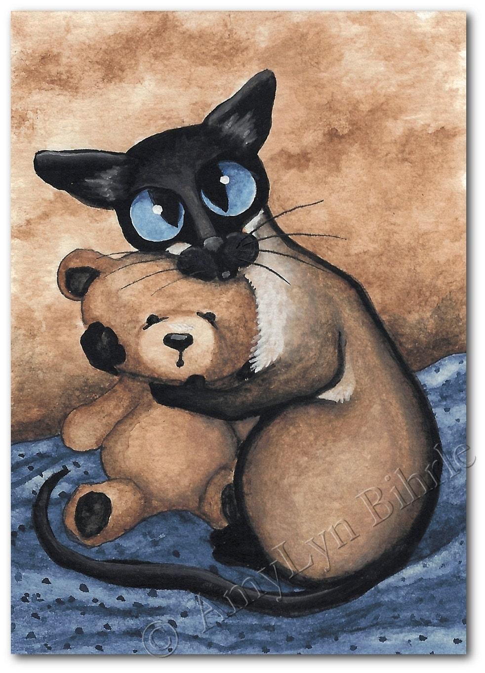 Siamese Cat Teddy Bear Hug Art Print Or Aceo By By
