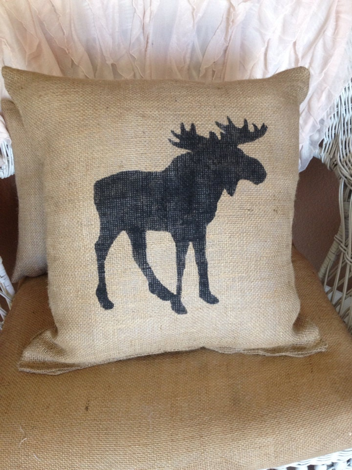 Pillow Throw Decor Etsy : Burlap moose pillow lodge decor rustic decor by burlapheartstrings