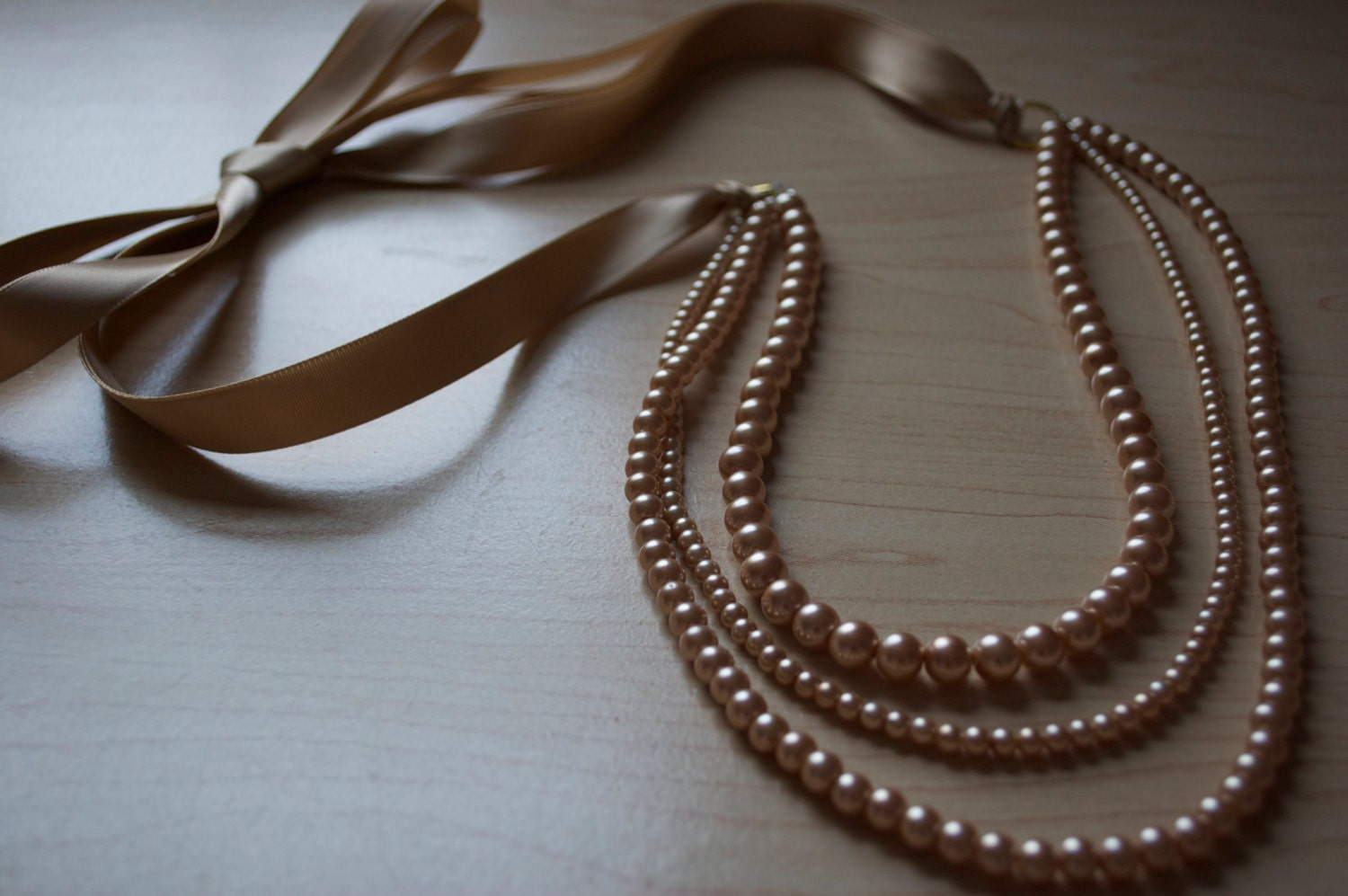 Gold Pearl and Ribbon Necklace