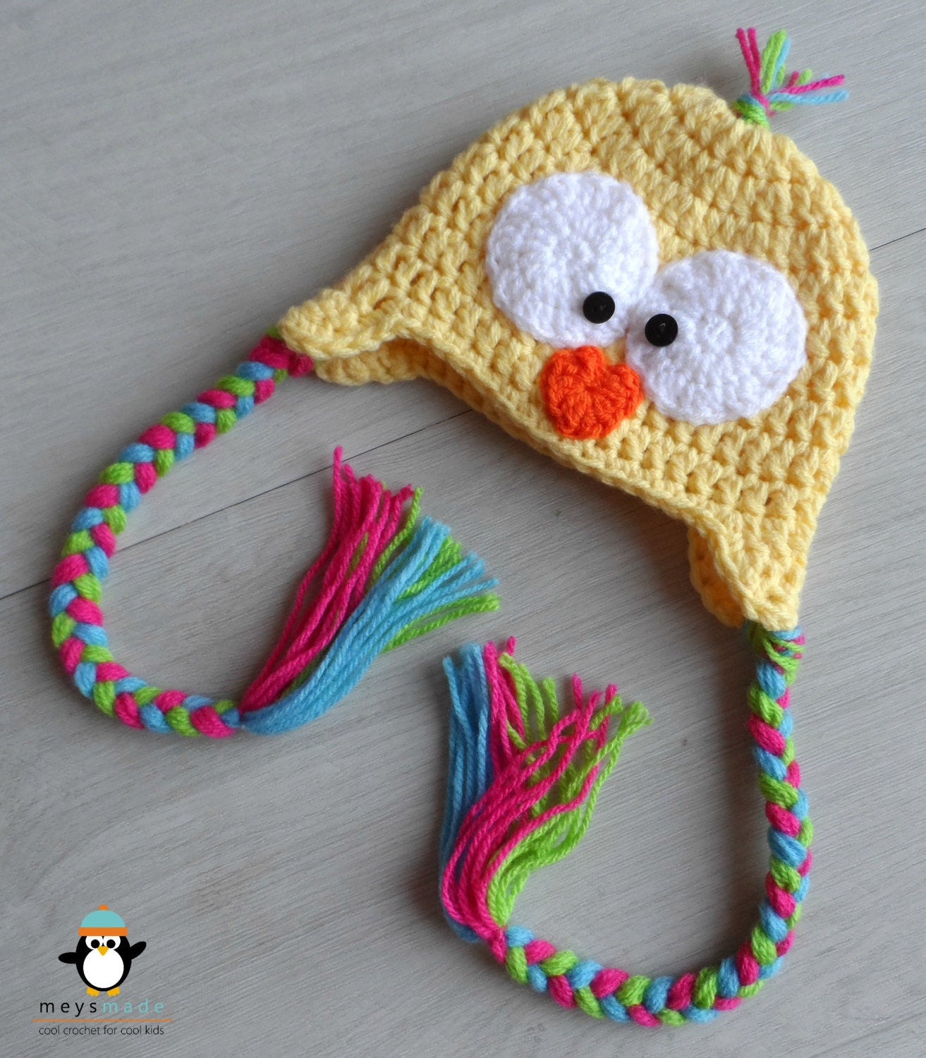 Custom Crochet Easter Chick Earflap Animal Hat for Newborn Baby, Infant Toddler, Child or Cute Photo Prop by MEYS MADE for Cool Kids - MeysMadeCoolCrochet