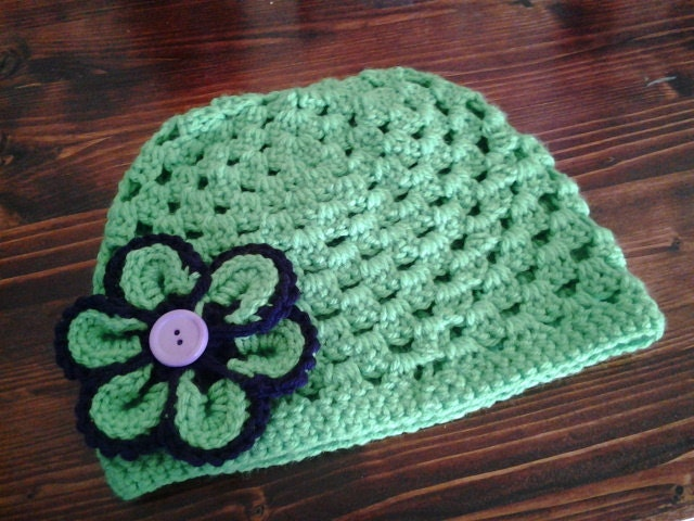 Crochet Granny Square Beanie Pattern : Items similar to Girls Crochet Beanie/Hat( Granny Square ...