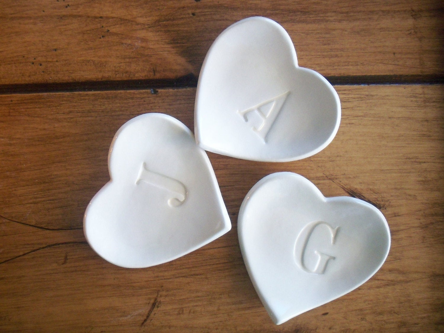 Ring dish letter ring holder custom ceramic by promisepottery for Letter ring holder