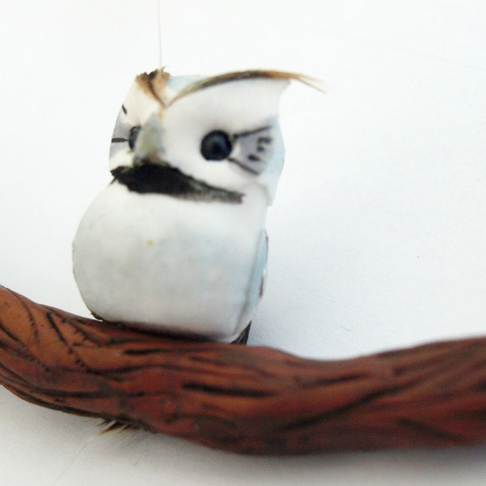 Little Owl on a Branch Necklace by glamasaurus on Etsy