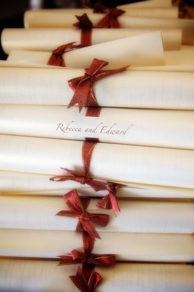 RESERVED Custom Listing of Scroll Wedding Programs From fivepluszero
