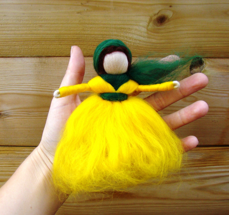 Easter fairy gift yellow Easter angel Easter doll wool Easter elf yellow fairy doll Waldorf toys Steiner Easter Montesorri angel doll