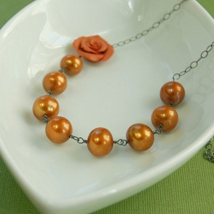 Orange Clay Rose and Freshwater Pearls Necklace on Sterling - Ready to Ship