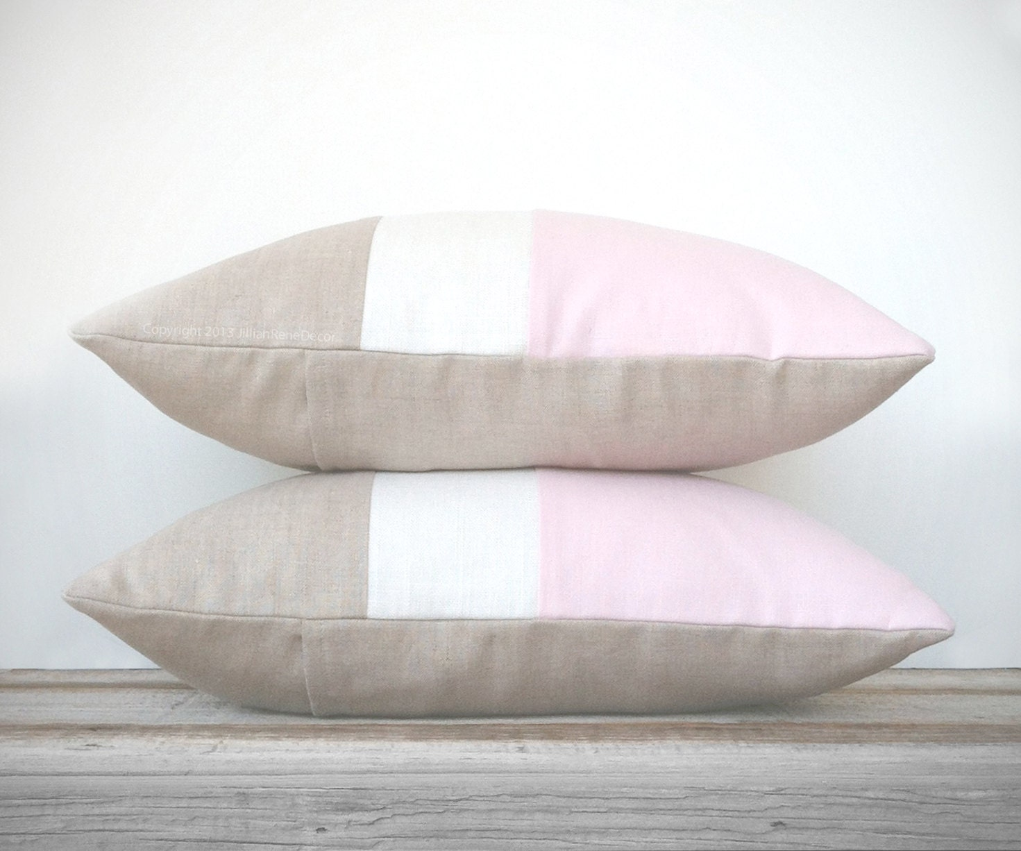 Color Block Stripe Pillow in Pink, Cream and Natural Linen (Set of 2) by JillianReneDecor | Modern Nursery | Home Decor | Decorative Pillow - JillianReneDecor
