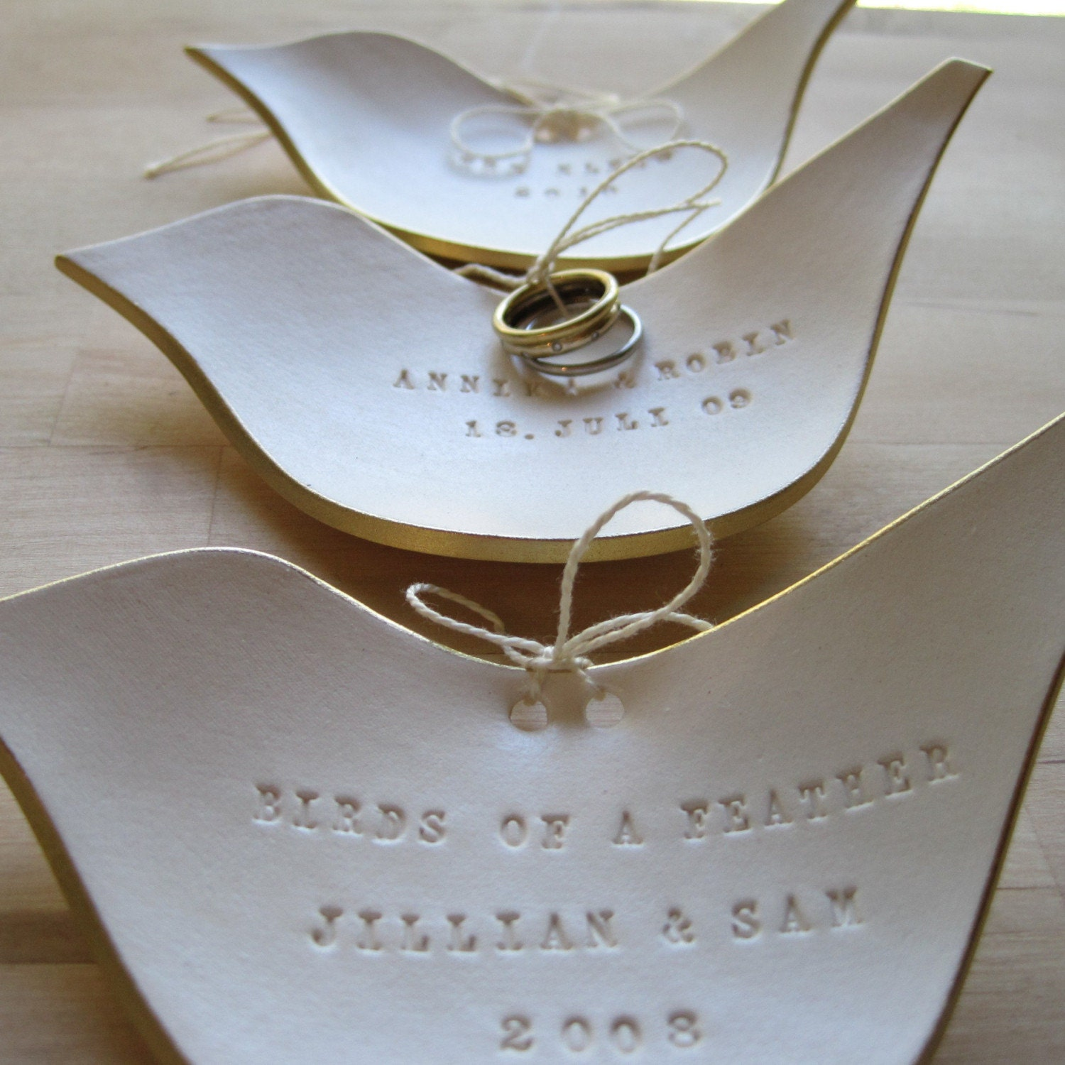 CUSTOM golden dove ring bearer bowl (TM)  with gold leaf edge- the original modern heirloom by Paloma's Nest- for wedding- commitment ceremony