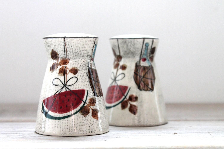 Vintage retro salt and pepper shakers / watermelon / wine basket / Japan / modern / mid century / Tampico Futura / collectible / retro home - WhiteDogVintage