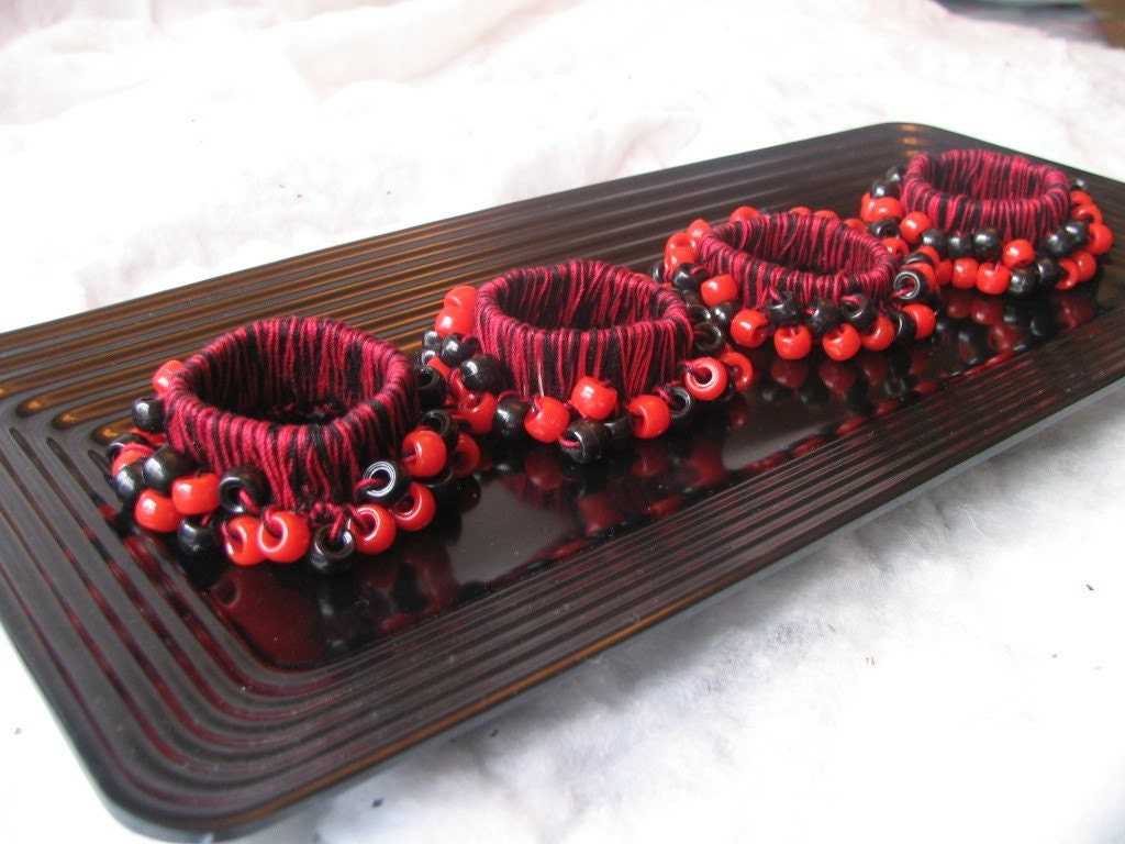 Red and Black Napkin Rings Set of 4